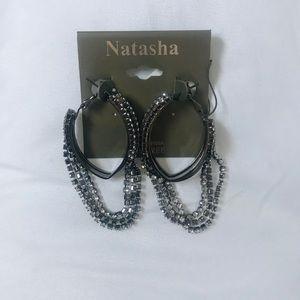 Dark Grey Oval Hang Earrings
